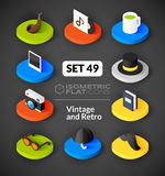 Isometric flat icons set 49. Isometric flat icons, 3D pictograms vector set 49 - Vintage and retro symbol collection Vector Illustration