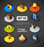 Isometric flat icons set 50. Isometric flat icons, 3D pictograms vector set 50 - Vintage and retro symbol collection Royalty Free Illustration
