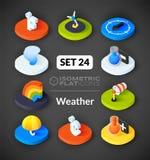 Isometric flat icons set 24 Stock Images