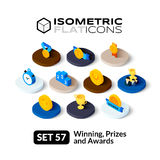 Isometric flat icons set 57. Isometric flat icons, 3D pictograms vector set 57 - Winning, Prizes and awards symbol collection Stock Photo