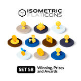 Isometric flat icons set 58. Isometric flat icons, 3D pictograms vector set 58 - Winning, Prizes and awards symbol collection Stock Images