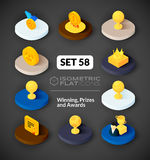 Isometric flat icons set 58. Isometric flat icons, 3D pictograms vector set 58 - Winning, Prizes and awards symbol collection Royalty Free Stock Image