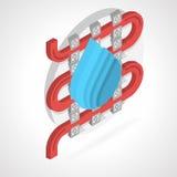 Isometric flat illustration of floor heating Stock Photo