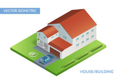 Isometric flat illustration with house and yard with car. House and building. Vector isometric flat illustration with house and yard with car. Eps 10 vector illustration
