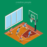 Isometric flat indoor basketball court playground. Vector illustration. College and university sports 3d isometry concept Royalty Free Stock Photography