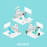 Isometric flat interior of dentist`s office. Royalty Free Stock Photography