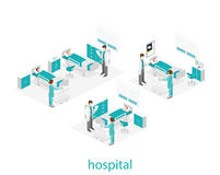 Isometric flat interior of hospital room. Doctors treating the patient. Royalty Free Stock Photography