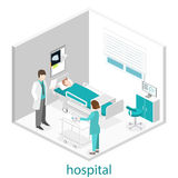 Isometric flat interior of hospital room. Doctors treating the patient. Stock Photo