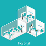 Isometric flat interior of hospital room. Doctors treating the patient. Royalty Free Stock Photo