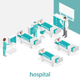 Isometric flat interior of hospital room. Doctors treating the patient. Stock Image