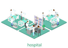 Isometric flat interior of hospital room. Doctors treating the patient. Flat 3D illustration Royalty Free Stock Photos