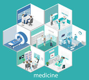 Isometric flat interior of hospital room, pharmacy, doctor`s office, Royalty Free Stock Images