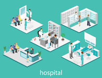 Isometric flat interior of hospital room, pharmacy, doctor`s office, waiting room, reception. Doctors treating the patient. Flat 3 Stock Photography