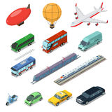 Isometric flat International auto air railway transport Stock Images