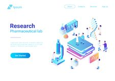 Isometric Flat Laboratory vector. microscope test. Isometric Flat Research Pharmaceutical Laboratory vector illustration. Scientists working with microscope test royalty free illustration