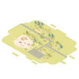 Isometric flat landscape. With road and camping tent next to the fire. Camp in the middle of the forrest vector illustration Royalty Free Stock Photography