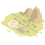 Isometric flat landscape with road and mountains. Isometric flat landscape with road, mountains and camping tent next to the fire. Camp in the middle of the Royalty Free Stock Photography