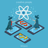 Isometric flat Mobile App Wizard Programmer phones. Isometric flat Programmers wearing magician costumes and magic wands in hands, standing on phones vector Stock Photos