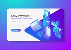 Isometric Flat Online Payment by Smartphone Laptop POS Terminal with Credit Debit Card Coins Cash Money.  Stock Photos