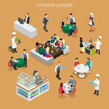 Isometric flat People in restaurant cook desert  Royalty Free Stock Photos