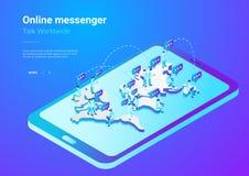 Isometric Flat People social network vector. Teamw stock illustration