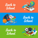 Isometric flat set of back to school website vecto. Isometric flat set of back to school website hero images vector illustration. Education and knowledge 3d Stock Photo