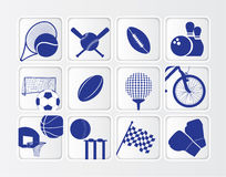Isometric flat sports ball icon set on white backg Stock Photos