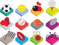 Isometric flat sports ball icon set on white background Stock Photography