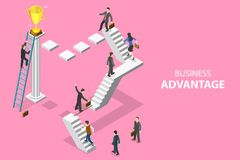 Isometric flat vector concept of business advantage, leadership. Isometric flat vector concept of business advantage, leadership, innovative thinking, creative royalty free illustration