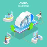 Isometric flat vector concept of cloud computing technology. royalty free illustration