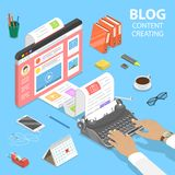 Isometric flat vector concept of creative business blogging. Isometric flat vector concept of creative business blogging, commercial blog posting, copywriting royalty free illustration