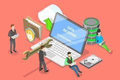 Isometric flat vector concept of data recovery services, data backup. royalty free illustration