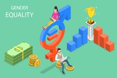 Isometric flat vector concept of gender equality, male and female equal rights. stock illustration