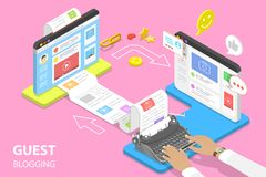 Isometric flat vector concept of guest blogging, commercial blog posting. Isometric flat vector concept of guest blogging, commercial blog posting and royalty free illustration