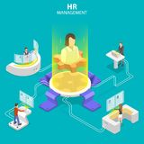 Isometric flat vector concept of headhunting, recruitment, HR manager review. stock illustration