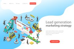 Isometric flat vector concept of lead generation strategy. Marketing process of conversion rate optimization and generating business leads stock illustration