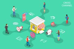 Free Isometric Flat Vector Concept Of Cross Channel, Omnichannel. Stock Photography - 148860122