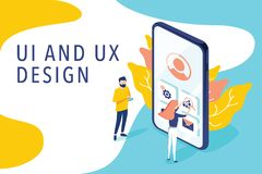 Isometric flat vector concept of UI and UX design process, mobile app development, GUI design. People testing interface. Isometric flat vector concept of UI and royalty free illustration