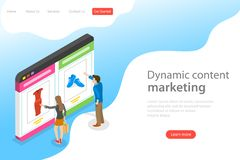 Isometric flat vector landing page template of behavioral digital marketing. Isometric flat vector landing page template of behavioral digital marketing vector illustration