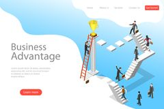 Isometric flat vector landing page template of business advantage. Isometric flat vector landing page template of business advantage, leadership, innovative vector illustration