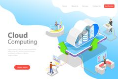 Isometric flat vector landing page template of cloud computing technology. stock illustration