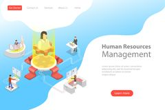 Isometric flat vector landing page template of employee search service. royalty free illustration