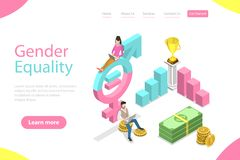 Isometric flat vector landing page template of gender equality. royalty free illustration