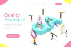 Isometric flat vector landing page template of QA, quality assurance. Isometric flat vector landing page template of QA, quality assurance, software app testing stock illustration