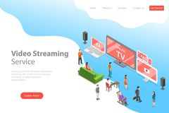 Isometric flat vector landing page template of smart TV, home entertainment. vector illustration