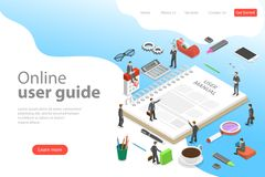 Isometric flat vector landing page template of user manual, guide. Isometric flat vector landing page template of user manual, guide, operating instractions vector illustration