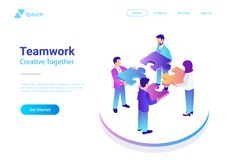 Isometric Flat vector Management Teamwork Business. People with Puzzle parts. Finance Concept colorful illustration Royalty Free Stock Photos
