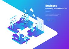 Isometric Flat vector Management Teamwork People P. Isometric Flat vector Management Teamwork Business People on Puzzle parts. Finance Concept illustration Stock Photo