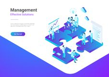 Isometric Flat vector Management Teamwork People P. Isometric Flat vector Management Teamwork Business People on Puzzle parts. Finance Concept illustration royalty free illustration