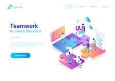 Isometric Flat vector Management Teamwork People P. Isometric Flat vector Management Teamwork Business People on Puzzle parts. Finance Concept illustration vector illustration